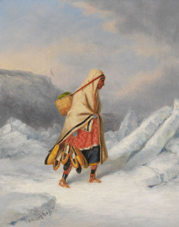 Indian Squaw Moccasin Seller Crossing the St. Lawrence River at Quebec par Cornelius David Krieghoff