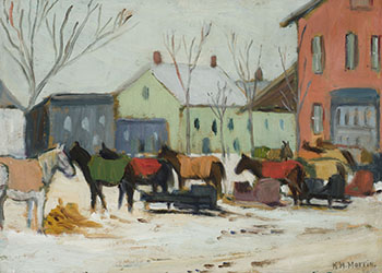Market in Winter, Berthierville, Quebec by Kathleen Moir Morris