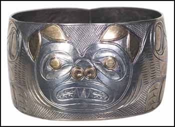 Early Northwest Coast Carved Silver Bracelet with Copper Overlay by Unidentified Haida Artist