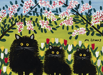 Three Black Cats by Maud Lewis