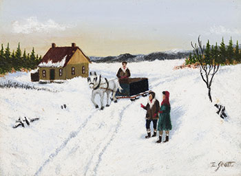Horse-drawn Sleigh on a Path in Winter par Ethel Seath