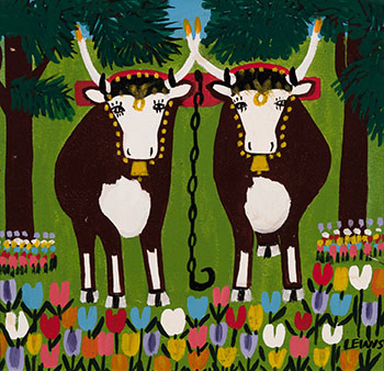 Two Oxen with Tulips par Maud Lewis