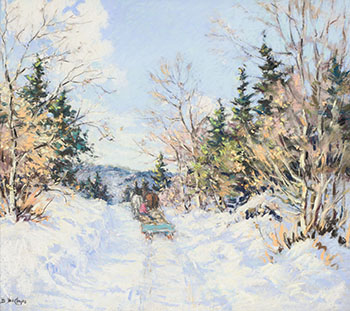 At St. Agathe des Monts, P.Q. (Winter Horse and Sleigh) by Berthe Des Clayes