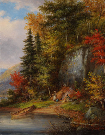 Lakeside Indian Encampment par Cornelius David Krieghoff