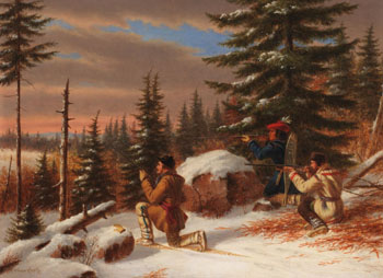 Gentlemen and Indian Hunting Caribou par Cornelius David Krieghoff