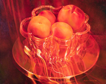 Peaches Flaming in Crystal by Mary Frances Pratt