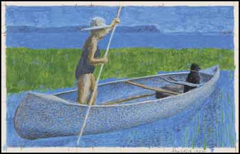Study for Woman, Dog & Canoe by Alexander Colville