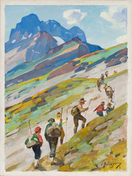 Mountain Trail Hikers by Carl Clemens Moritz Rungius
