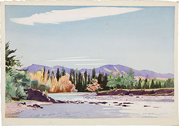 Bow River in Fall by Walter Joseph (W.J.) Phillips