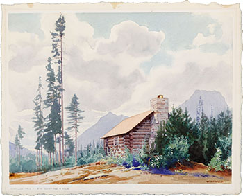 Vermillion Pass Cabin - Mts. Whymper & Boom by Walter Joseph (W.J.) Phillips