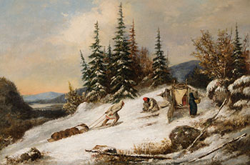 Indian Family Camping in Winter by Cornelius David Krieghoff