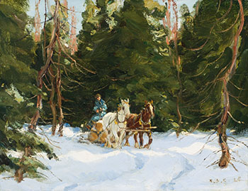 Drawing Logs (Winter in Quebec) by Frederick Simpson Coburn