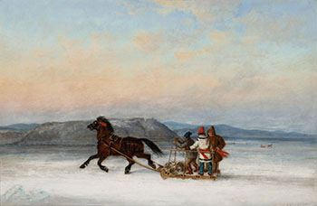 Three Habitants Sledding on the St. Lawrence at Quebec by Cornelius David Krieghoff
