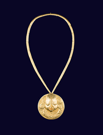Gold Transformation Pendant and Necklace, Dogfish Woman Design with detachable Female Mask by William Ronald (Bill) Reid