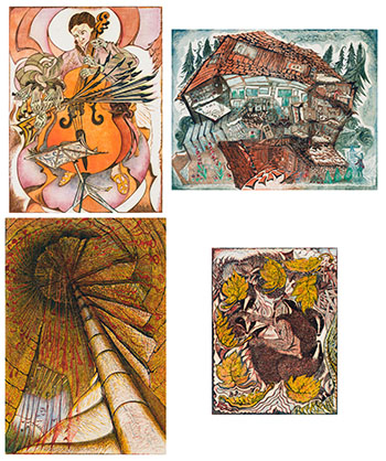Set of 4 Linocuts by Richard Calver