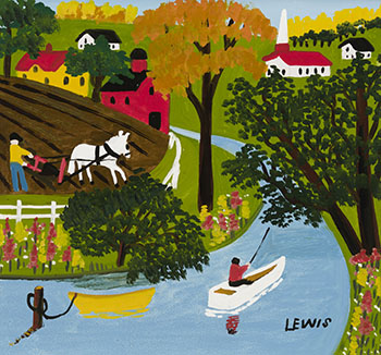 Ploughing and Fishing par Maud Lewis