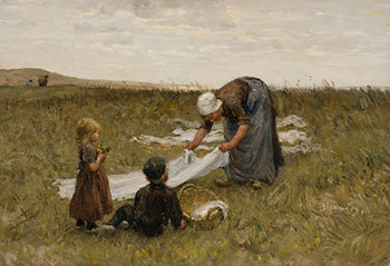 Woman with Children in the Field by Bernardus Johannes Blommers