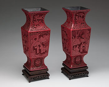 Pair of Large Chinese Cinnabar Lacquer Vases, 19th Century by  Chinese Art
