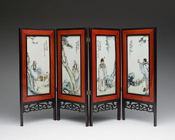 Set of Four Chinese Famille Rose 'Figural' Panels, circa 1935 by  Chinese Art