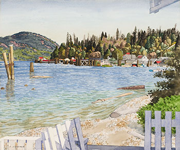 The Waterfront at Cowichan Bay par Edward John (E.J.) Hughes