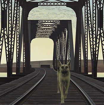 Dog and Bridge by Alexander Colville