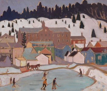 The Hockey Game, St. Lawrence, North Shore Village / Village with Horse and Sleigh (verso) par Albert Henry Robinson