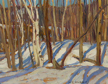 Birches in Winter / Quebec in Winter (verso) by Alexander Young (A.Y.) Jackson