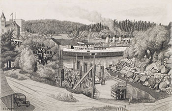 Vancouver Boat at the Old Wharf, Nanaimo, BC by Edward John (E.J.) Hughes