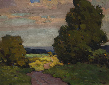 Trees and Sunset by John William (J.W.) Beatty