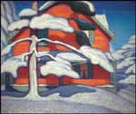 LAWREN STEWART HARRIS Pine Tree and Red House, Winter, City Painting II oil on canvas