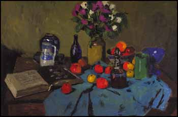 Still Life on a Green Tablecloth by William Goodridge Roberts
