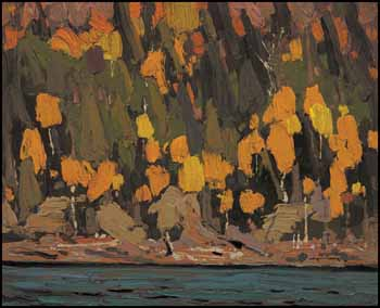 Birches and Cedar, Fall by Thomas John (Tom) Thomson