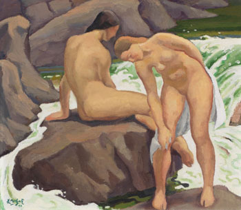Two Bathers by Edwin Headley Holgate