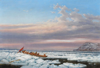 Hauling the Royal Mail Across the Ice on the St. Lawrence, Quebec by Cornelius David Krieghoff
