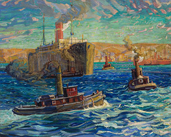 Tugs and Troop Carrier, Halifax Harbour, Nova Scotia by Arthur Lismer